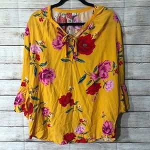 Old Navy Yellow Floral Tie Neck Top